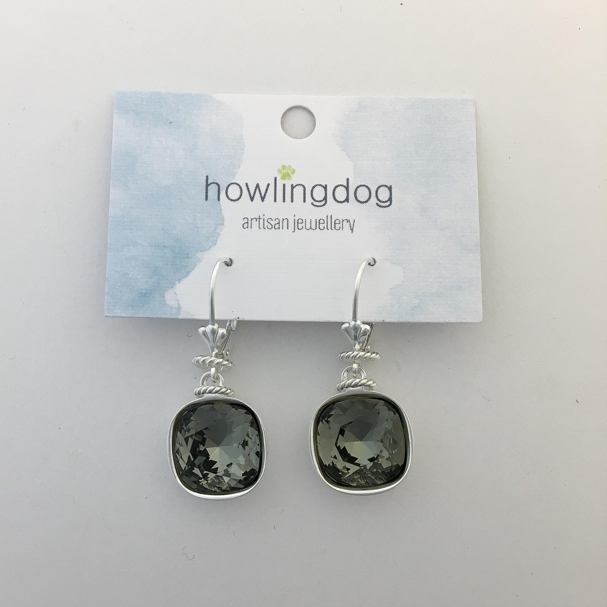 Howling Dog Howling Dog Earring- Grey Swarovski Drop