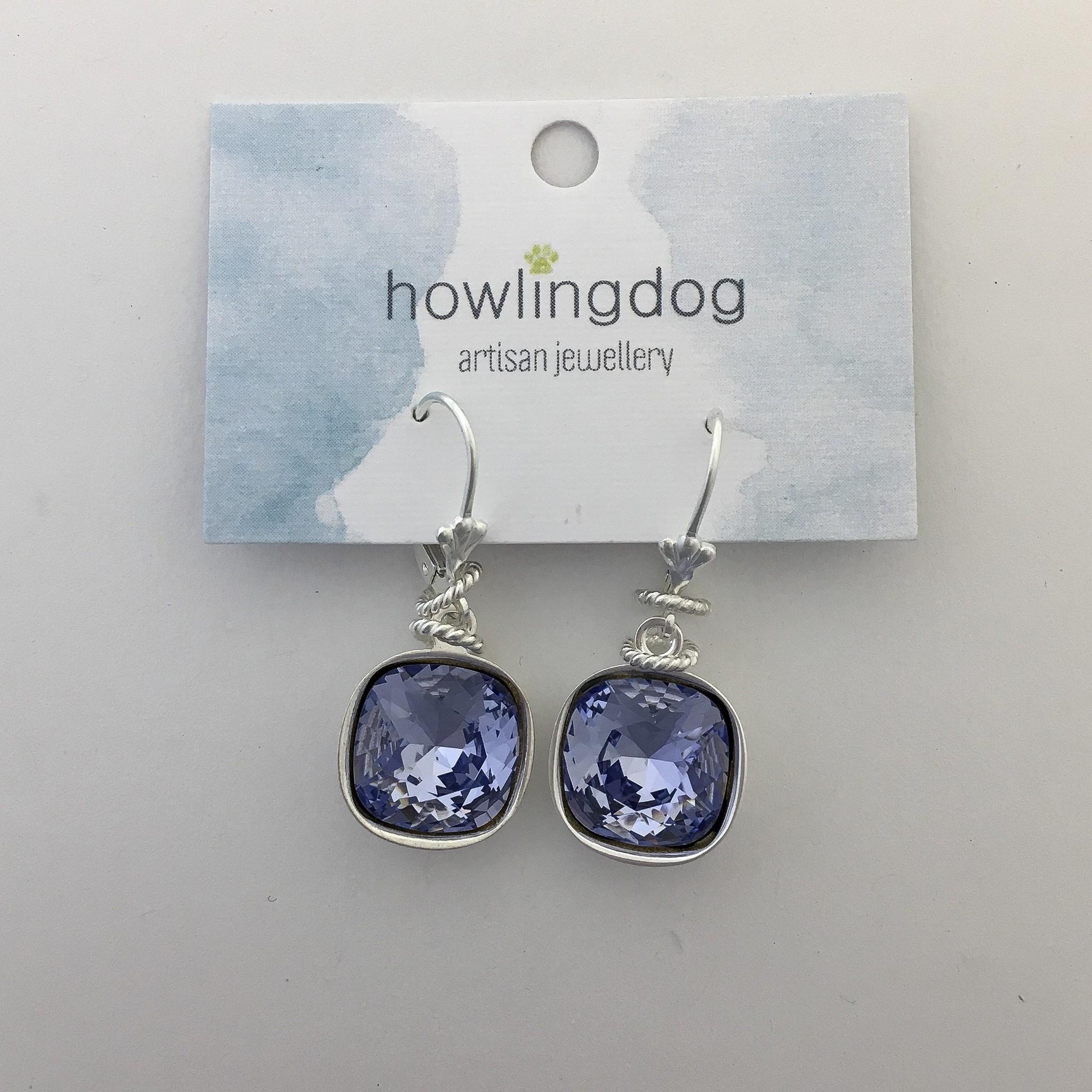 Howling Dog Howling Dog Earring- Lilac Swarovski Drop