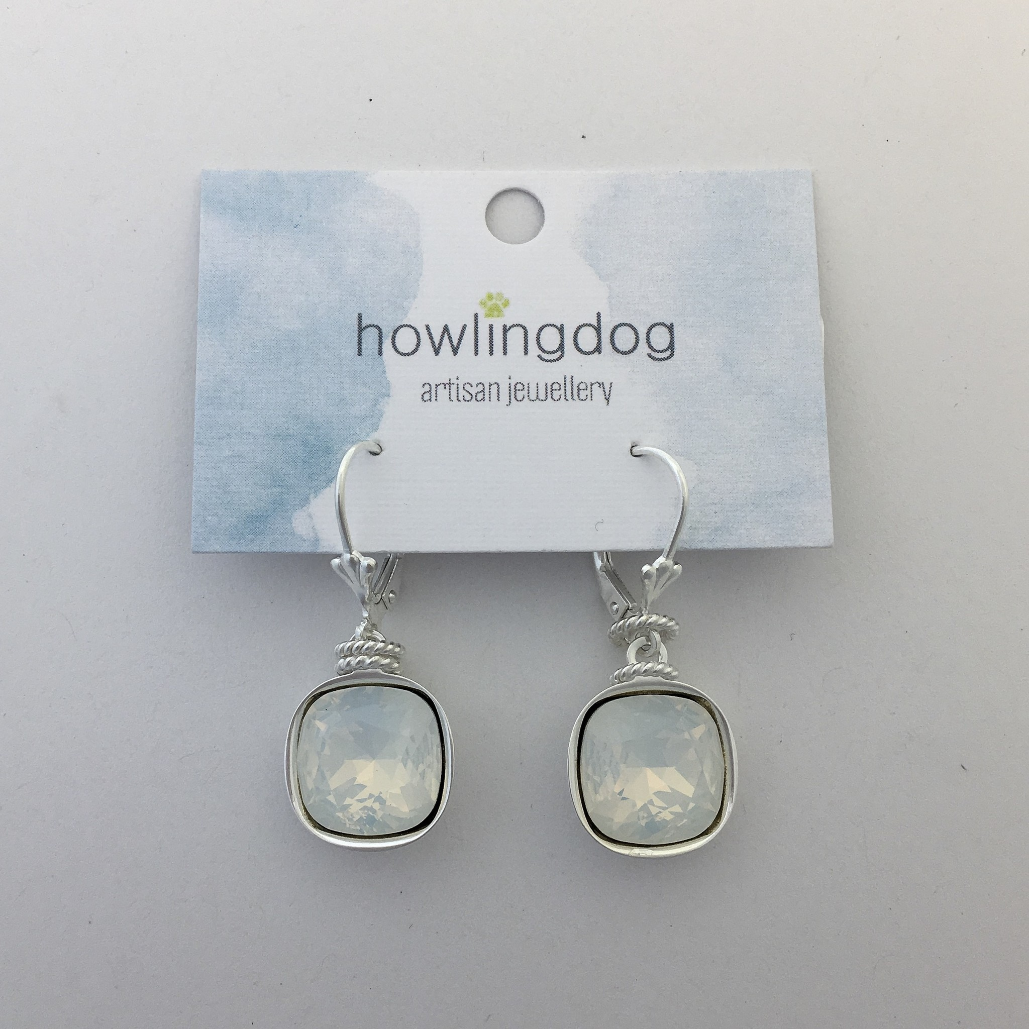 Howling Dog Howling Dog Earring- White Opal Swarovski Drop