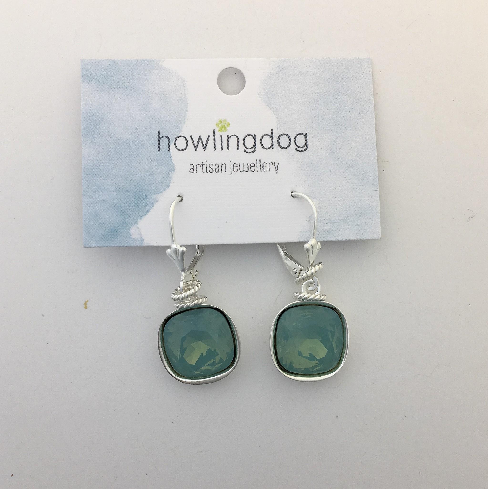 Howling Dog Howling Dog Earring- Mint Swarovski Drop