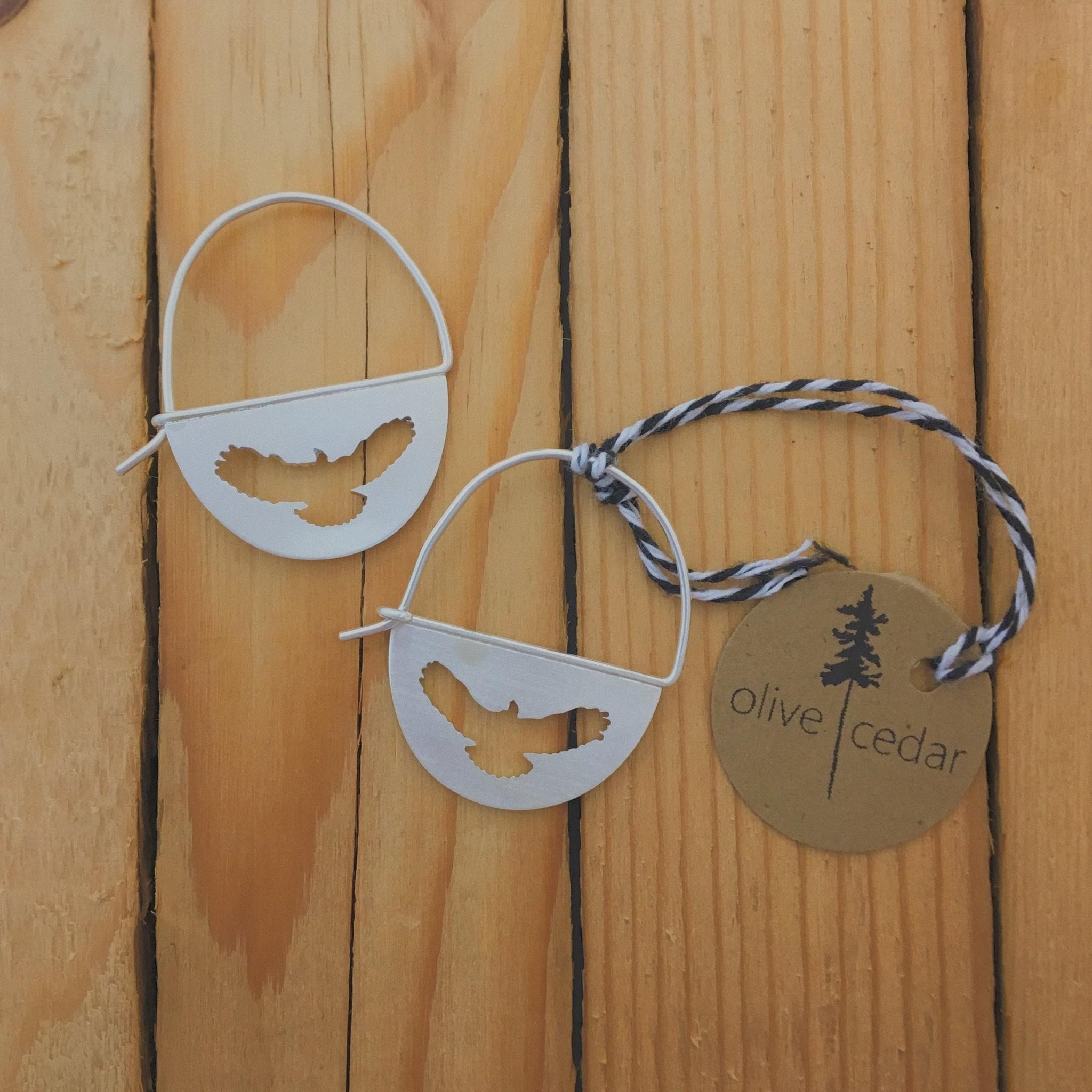 Olive Cedar Sterling Half Moon Earring- Eagle