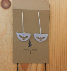 Olive Cedar Half Moon Dangle Earring- Eagle