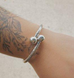 M Style Sterling Braided Hinged Bracelet