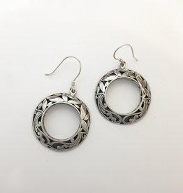 M Style Large Filigree Circle Drop Earrings