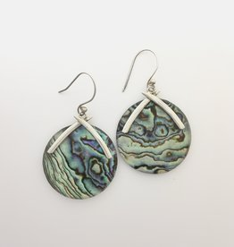 M Style Abalone Circle Drop Earring
