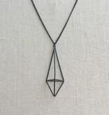 Pursuits Elongated 3D Diamond Necklace -Matte Black