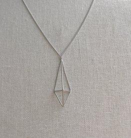 Pursuits Elongated 3D Diamond Necklace -Silver