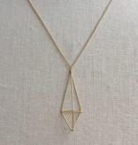 Pursuits Enlongated 3D Diamond Necklace -Gold