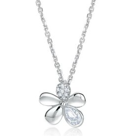 Larus Flower Necklace with 2 CZ Petals 18""