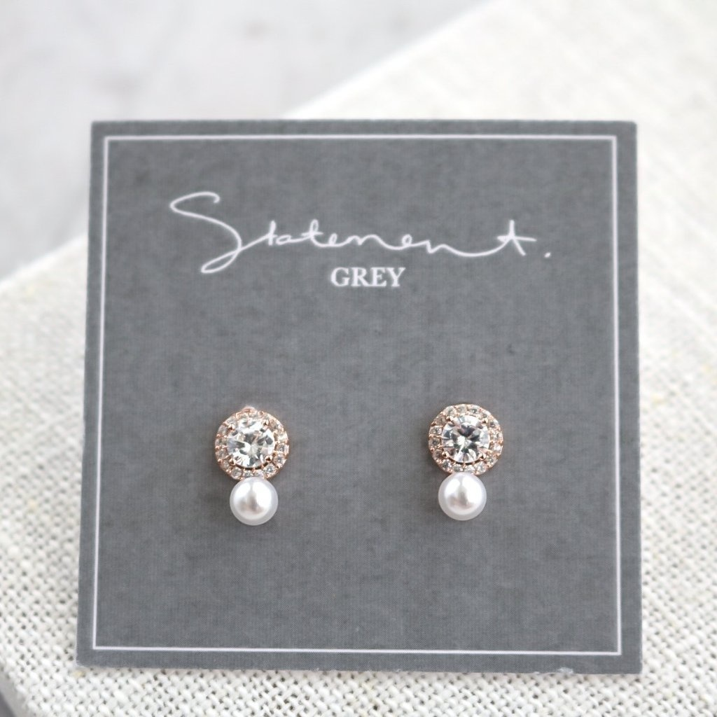 Statement Grey Rose Gold Voeux Stud