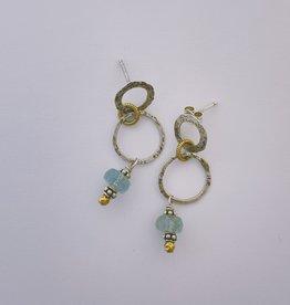 Pax Sterling Loops Earring w Blue Topaz