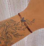 Kurshuni Jewellery Blue Pave Butterfly Pull Cord Maroon