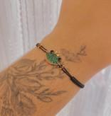 Kurshuni Jewellery Pave Frog Bracelet Black/ Rose Gold