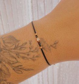 Kurshuni Jewellery Tiny CZ Bracelet Black/ Rose