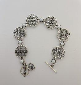 "Shablool Sterling Round Link Bracelet w Freshwater Pearls 7"""