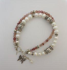 "Shablool Sterling, Rose Quartz & Freshwater Pearl Bracelet 7"""