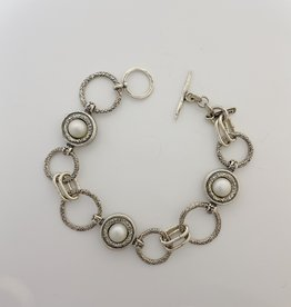 """Shablool Sterling Links and Pearls Bracelet 7"""""""