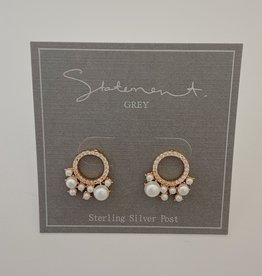 Statement Grey Fawn - Rose Gold Pearl/Cz Circle studs