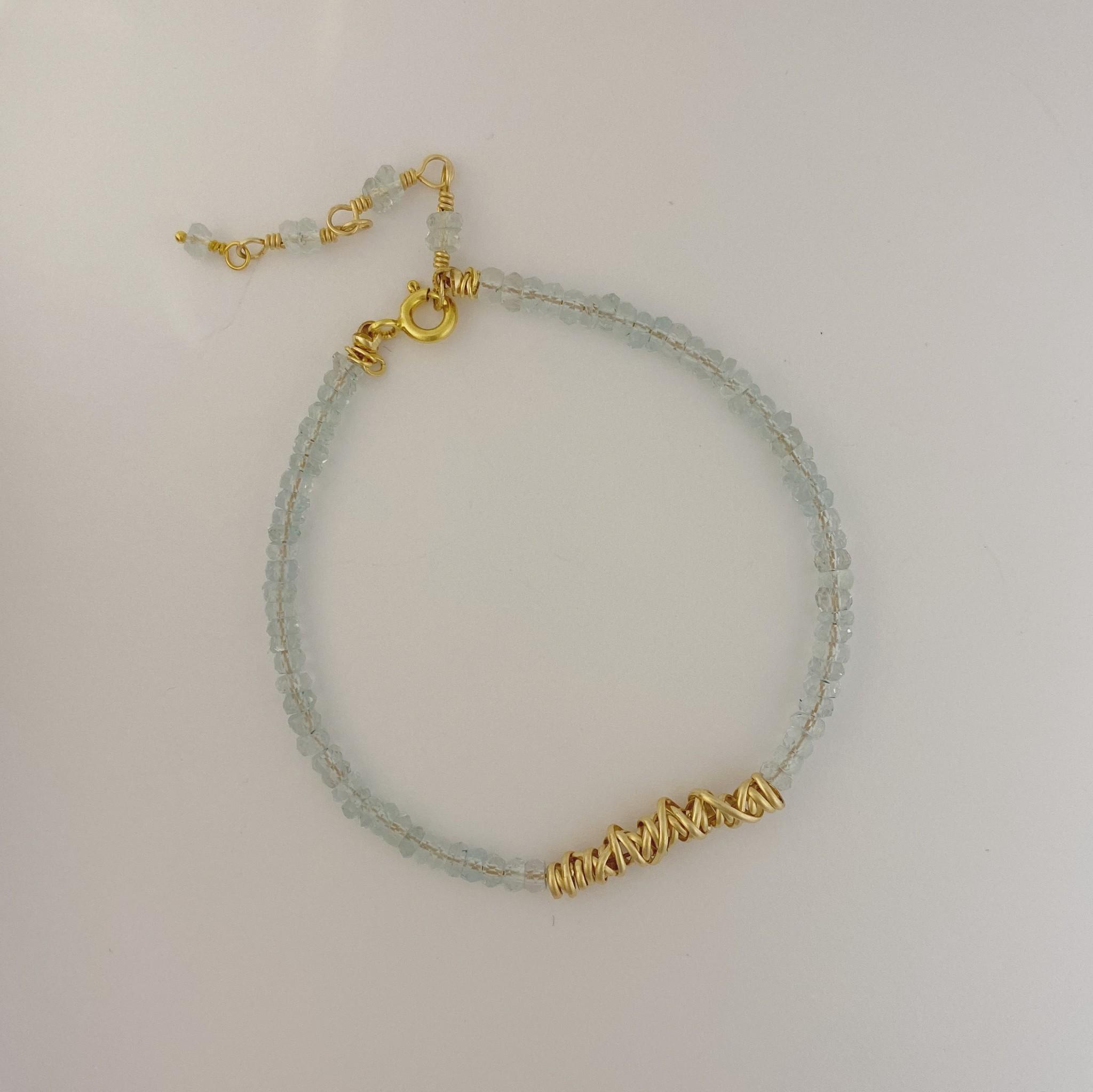 Dianne Rodger Aquamarine Bracelet w Gold Twist