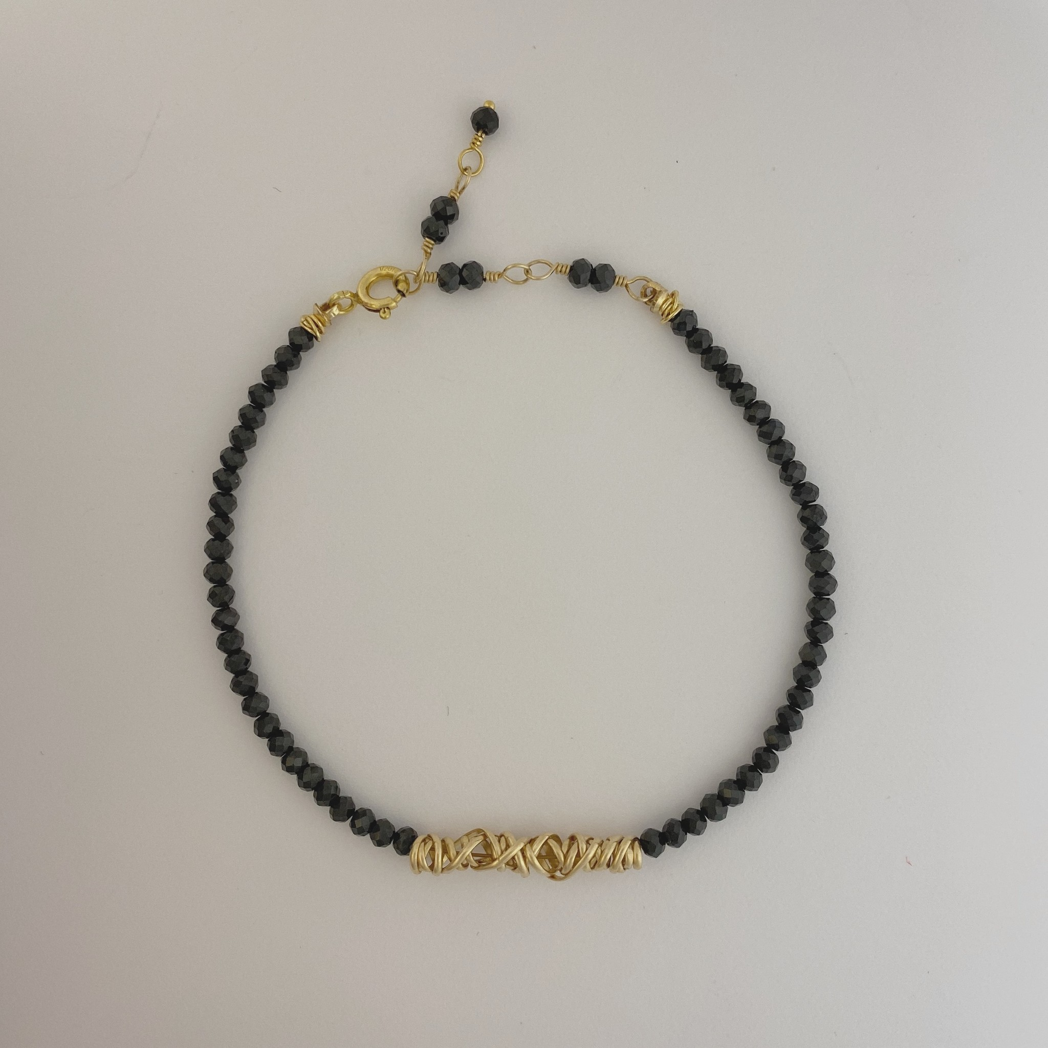 Dianne Rodger Gold Micro Twist Bracelet w Black Onyx