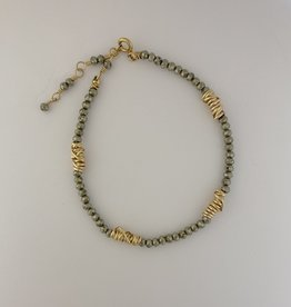 Dianne Rodger Gold Micro Twists Bracelet with Pyrite