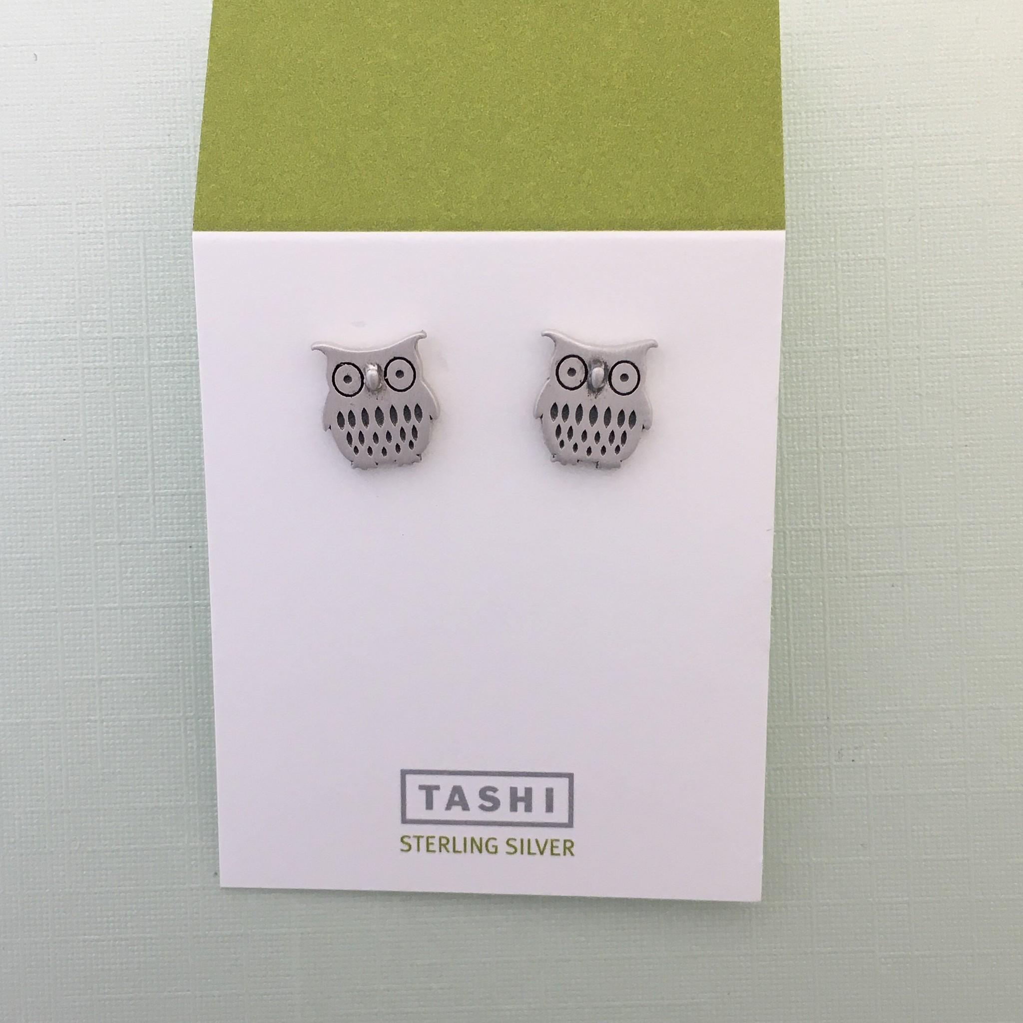 Tashi Brushed Owl Stud