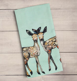 Green Box Dancing Fawns Tea Towel