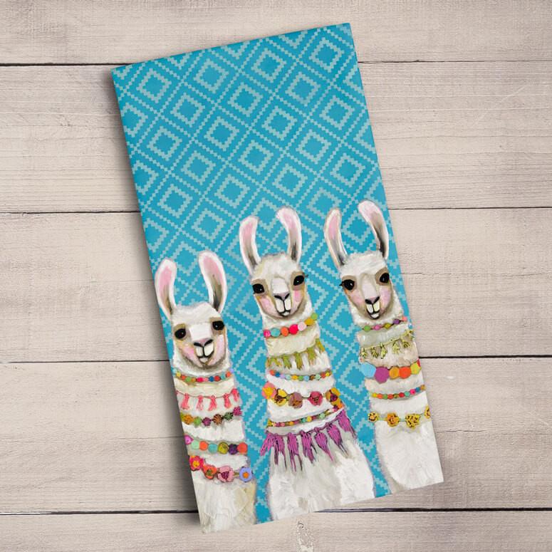 Green Box Llama Necklaces Tea Towel