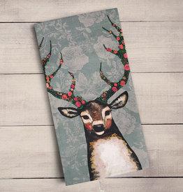 Green Box Fox, Buck, Hare- Floral Tea Towel