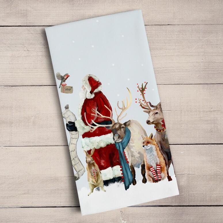Green Box Christmas Santa w List Tea Towel