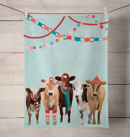 Green Box Festive Cow Club Tea Towel