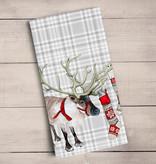 Green Box Embellished Reindeer Tea Towel