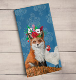 Green Box Fox and Rooster Tea Towel