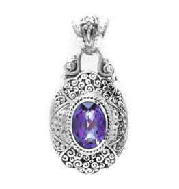 """Sarda Blue Jay Jazz Mystic Quartz Necklace (with 18"""" Chain)"""