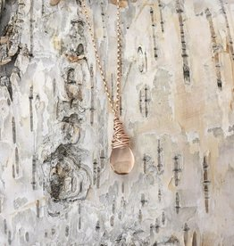 Dianne Rodger Small Rose Gold Petal Necklace w Champagne Quartz