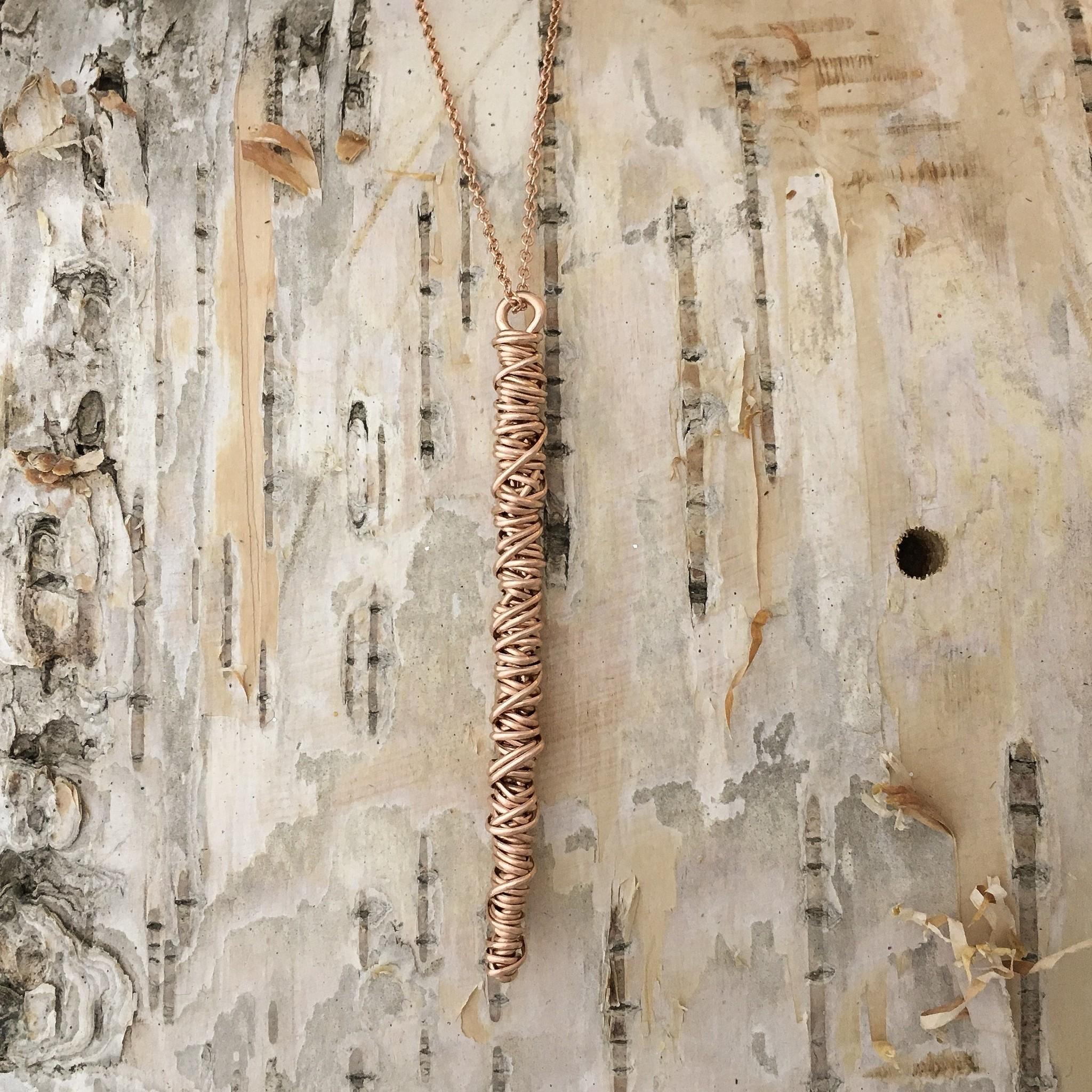 Dianne Rodger Large Rose Gold Twist Drop Necklace