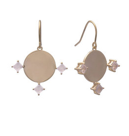 Sarah Mulder Imperial Earring Short Gold Rose Quartz