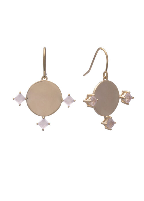 Sarah Mulder Imperial Earring Short Gold Rose Quartz