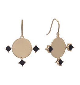 Sarah Mulder Imperial Earrings Short Gold Onyx