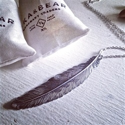 """Pika & Bear """"Quill""""  Antique Silver Necklace"""