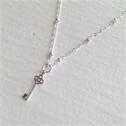"""Pika & Bear """"Minerva"""" Tiny Key Silver Necklace"""