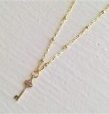 """Pika & Bear """"Minerva"""" Tiny Gold Key Necklace"""