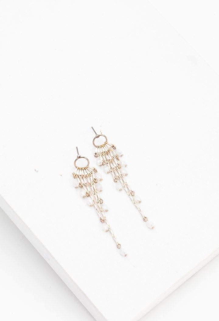 Lover's Tempo Cascade Drop Earrings- White