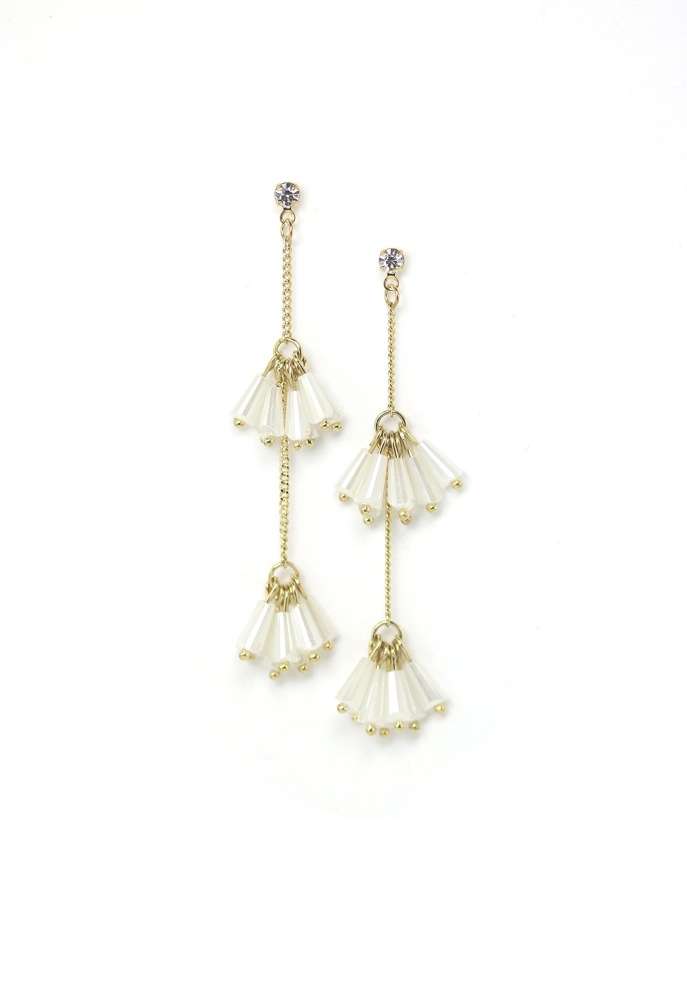 Lover's Tempo Soiree Drop Earrings- White