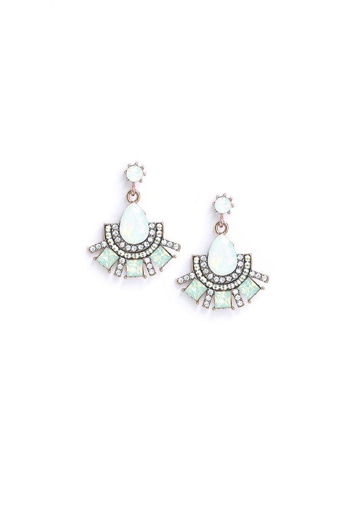 Lover's Tempo Allegro Fan Drop Earrings- White Opal