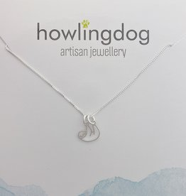 Howling Dog Silver Sloth Necklace 18""