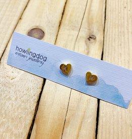 Howling Dog Gold Heart Stud w CZ