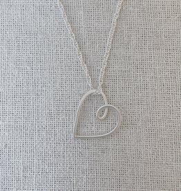 "Valerie Davidson Sterling Open Heart Pendant on 18"" wheat chain"
