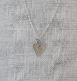 """Valerie Davidson Sterling & Fused Gold Tiny Heart Pendant with 18"""" rolo chain"""