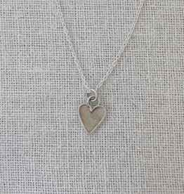 "Valerie Davidson Sterling & Fused Gold Tiny Heart Pendant with 18"" rolo chain"